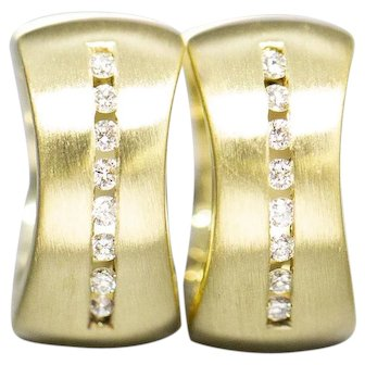 Handcrafted 0.20ctw Channel Set Diamond Huggie Hinged Hoops Brushed Finish 14k