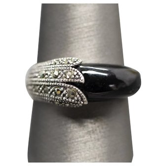 VIntage Onyx and Marcasite Deco Style Band Ring Sterling Silver Size 10
