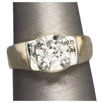 Vintage Men's 1.08ct Diamond Solitaire Wedding Band Ring 14k Yellow White Gold