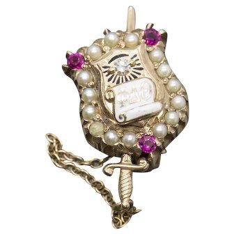 Phi Delta Theta Vintage Ruby, Diamond and Pearl Sorority Pin 14k