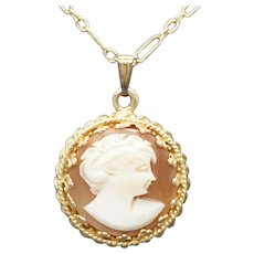 Antique Cameo Crown Pendant Necklace 14k Yellow Gold 14.5""