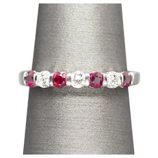 0.65ctw Natural Ruby and Diamond Platinum Band Stackable Wedding Ring Size 7.5