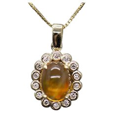 Handcrafted Natural Mexican Fire Opal & Diamond Pendant 14k Yellow Gold