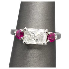 2.21ctw F I2 GIA Certified Radiant Cut Diamond and Ruby Engagement Wedding Ring