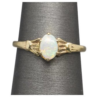 Victorian Natural Opal Solitaire Ring in 14k Yellow Gold Size 6.25