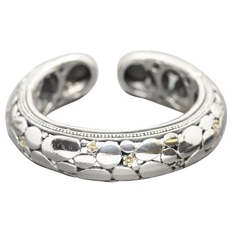 Pebble and Flower Cuff Double Hinged Cuff Bracelet in Sterling Silver