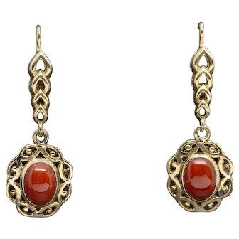 Victorian Natural Sardinian Oxblood Coral Dangle Earrings Lever Back 14k