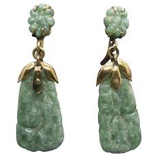 Vintage Carved Jadeite Dangle Screw Back Earrings 14k Yellow Gold
