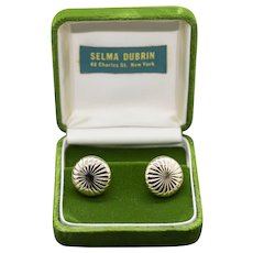 Vintage 14k Ribbed Round Cuff Links Cufflinks in Original Box