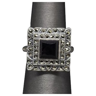 Vintage Art Deco Onyx and Marcasite Square Cocktail Ring in Sterling Silver
