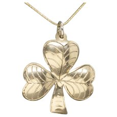 Victorian Large Lucky Irish Shamrock Clover Engraved Pendant 9kt Solid Gold