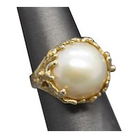 15.5mm Mabe Pearl Cocktail Ring in Textured 14k Yellow Gold Size 8