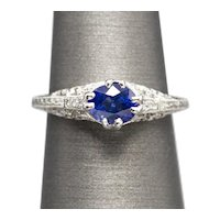 Art Nouveau 1.10ctw Blue Sapphire and Diamond Platinum Engraved Engagement Ring