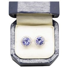Handcrafted Natural 1.20ctw Tanzanite and Diamond Halo Stud Earrings 18k White Gold