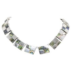"""Vintage Mexico Sterling Silver Abalone Shell Statement Collar Necklace 15.5"""""""