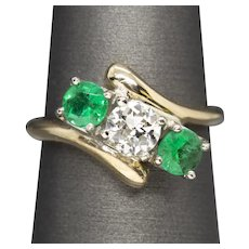 1.27ctw Old European Cut Diamond and Emerald Three Stone Bypass Ring 14k