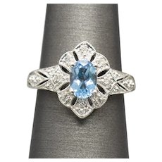 Vintage 1.20ctw Blue Topaz and Diamond Statement Ring 10k White Gold