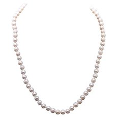 """Classic 7mm Pink Freshwater Pearl Strand Necklace 14k Filigree Clasp 18"""""""
