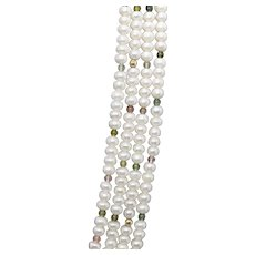 """Four Strand Pearl Tourmaline and Gold Bead Necklace in 14k Yellow Gold 24"""""""