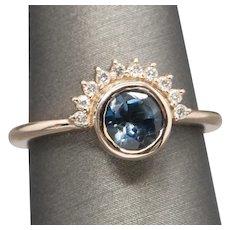 1.60ctw London Blue Topaz and Diamond Sunrise Half Halo Ring in 14k Rose Gold
