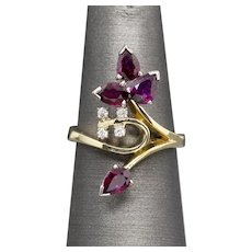 Vintage Garnet and Diamond Cocktail Gothic Ring in 14k Yellow Gold