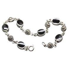"Vintage Black Onyx and Marcasite Tennis Link Bracelet in Sterling Silver 7.5"""