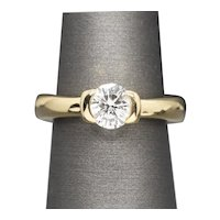 0.91ct H VS2 Tension Set Diamond Engagement Ring in 18k Yellow Gold