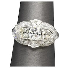 Vintage 1.67ctw Old European and Old Mine Cut Diamond Ring in 14k White Gold