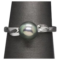 7mm Tahitian Pearl Ring with Leaf Accents in 14k White Gold
