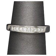 0.30ctw H SI1 Princess Cut Diamond Platinum Wedding Band Ring