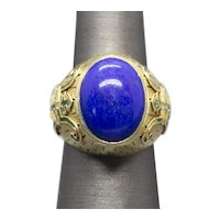 Bold Chinese Enamel Lapis Lazuli Domed Cocktail Ring in 14k Yellow Gold