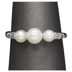 Three Stone Pearl and Diamond Ring in 10k White Gold