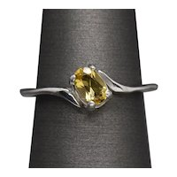 Vintage Sunflower Yellow Sapphire Solitaire Bypass Ring 14k White Gold
