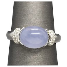Lavender Purple Jadeite Jade and Diamond Ring in 14k White Gold Size 7