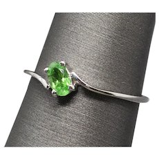 Sparkly 0.25ct Tsavorite Garnet Bypass Stackable Band Ring 14k White Gold