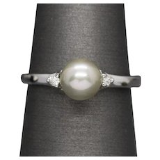 6.5mm Silver Grey Gray Pearl Diamond Ring 14k White Gold