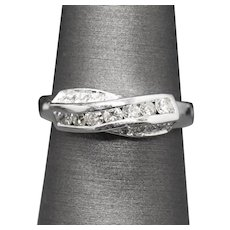 0.39ctw Diamond Cross Over Channel Set Band Ring in 18k White Gold