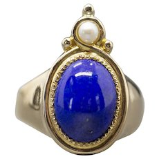 Vintage Arabesque Lapis Lazuli and Pearl Cocktail Ring in 14k Yellow Gold