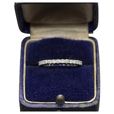 0.80ctw Diamond Eternity Wedding Stackable Band Ring Size 5 14k White Gold