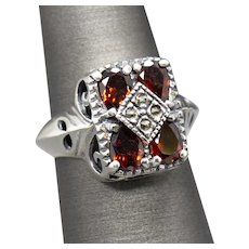 Vintage 2.00ctw Garnet & Marcasite Cocktail Ring in Sterling Silver