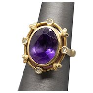 Victorian Amethyst and Diamond Slice Renaissance Revival Ring in 14k Yellow Gold