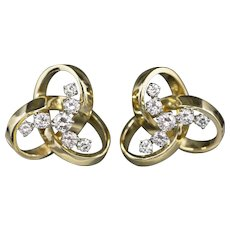 0.74ctw Diamond Trinity Knot Earrings in 18k Yellow Gold