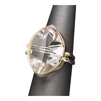 Handcrafted 20.00ct Morganite Fantasy Cut Cocktail Ring in 14k Yellow Gold