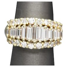2.75ctw Baguette and Round Diamond Band Ring in 18k Yellow Gold