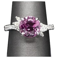 Bold 3.47ct Natural Untreated Pink Spinel and 0.54ctw Diamond Ring 18k White