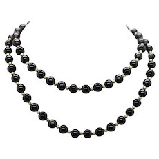 8mm Black Onyx and 14k Yellow Gold Bead Infinity Necklace 30""