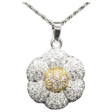 3.00ctw Pave Diamond Flower Pendant Necklace 18k Yellow Gold and Platinum