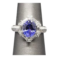2.87ctw Handcrafted Tanzanite and Diamond Luxe Cocktail Engagement Ring