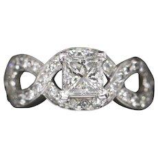 1.09ctw GIA Princess Cut Diamond Engagement Wedding Ring in 18k White Gold