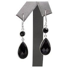 Handcrafted Black Onyx Bezel Set Dangle Earrings in Sterling Silver